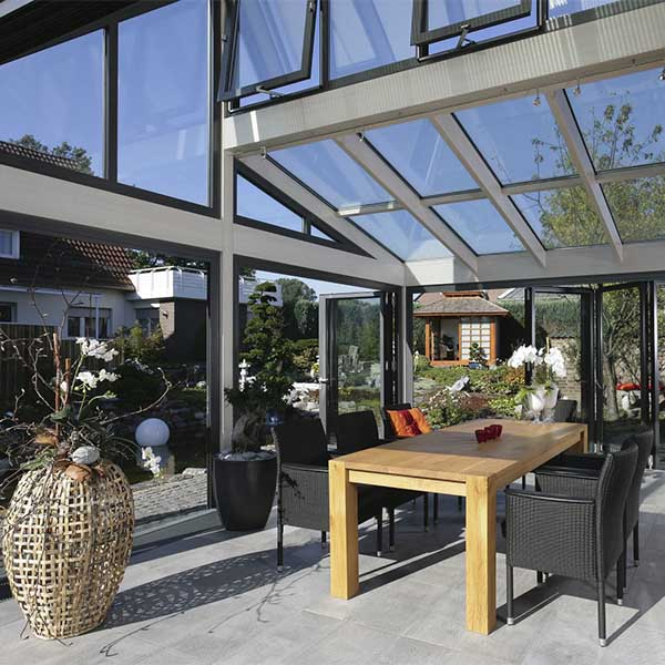 glass facade wood curtain wall greenhouse